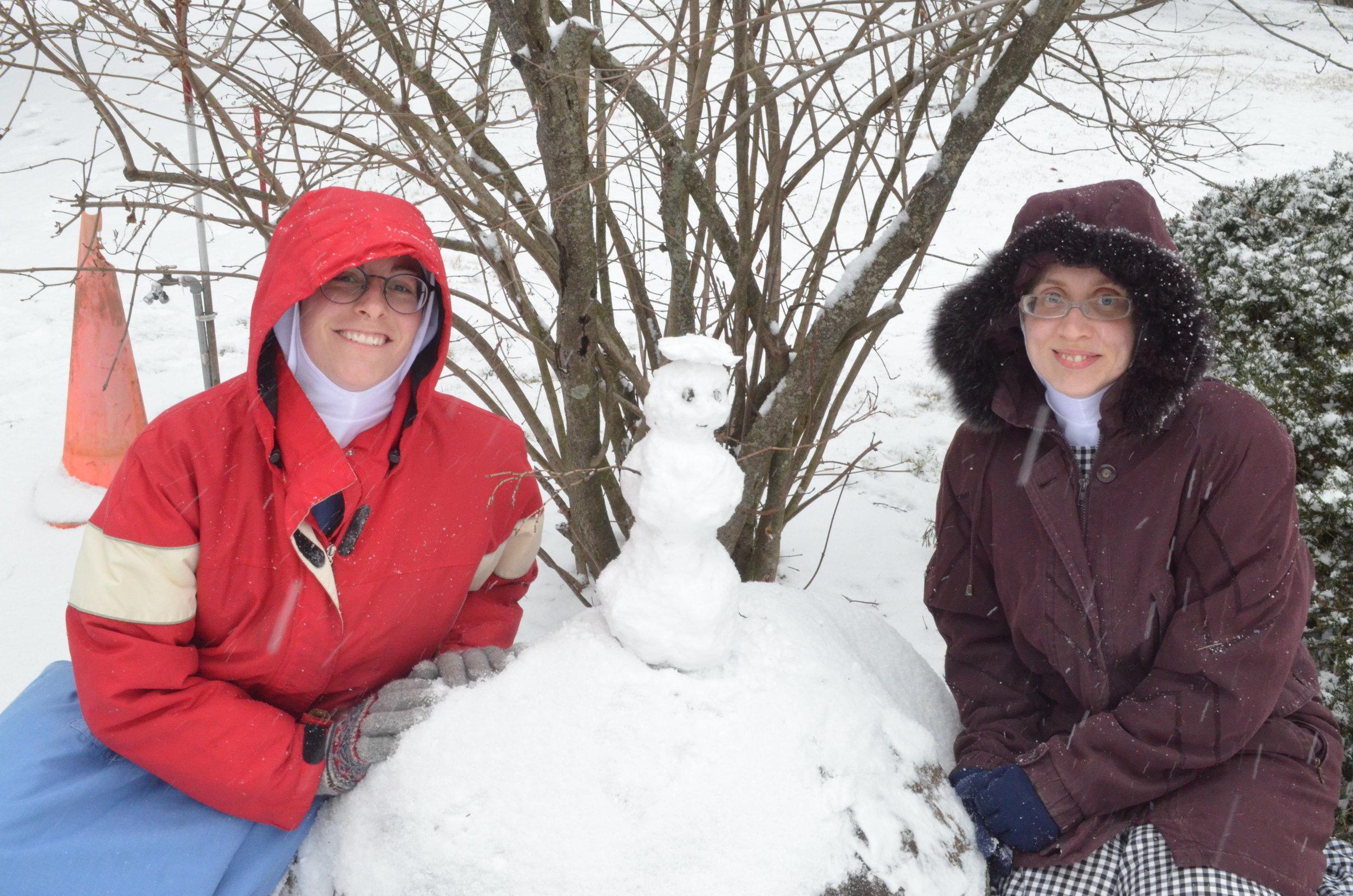 Sr. Mary Ana and Sr. Maria Johanna with their little snowman.