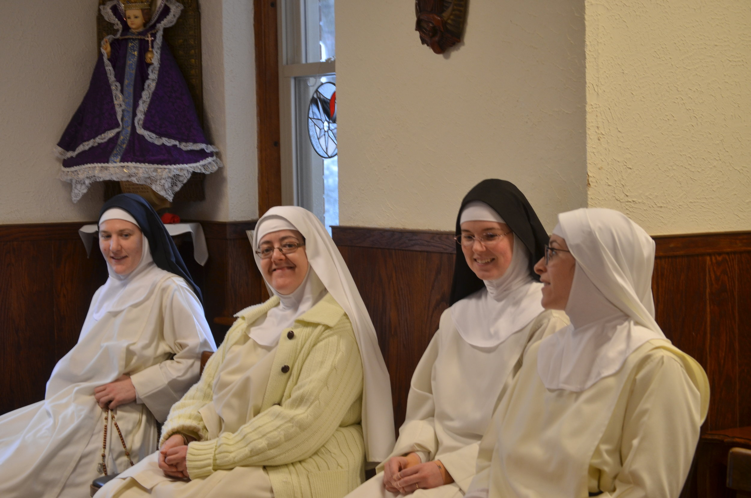 Srs. Mary Magdalene, Chiara Marie, Maria Teresa, & Mary Ana wait for the brothers in the parlor