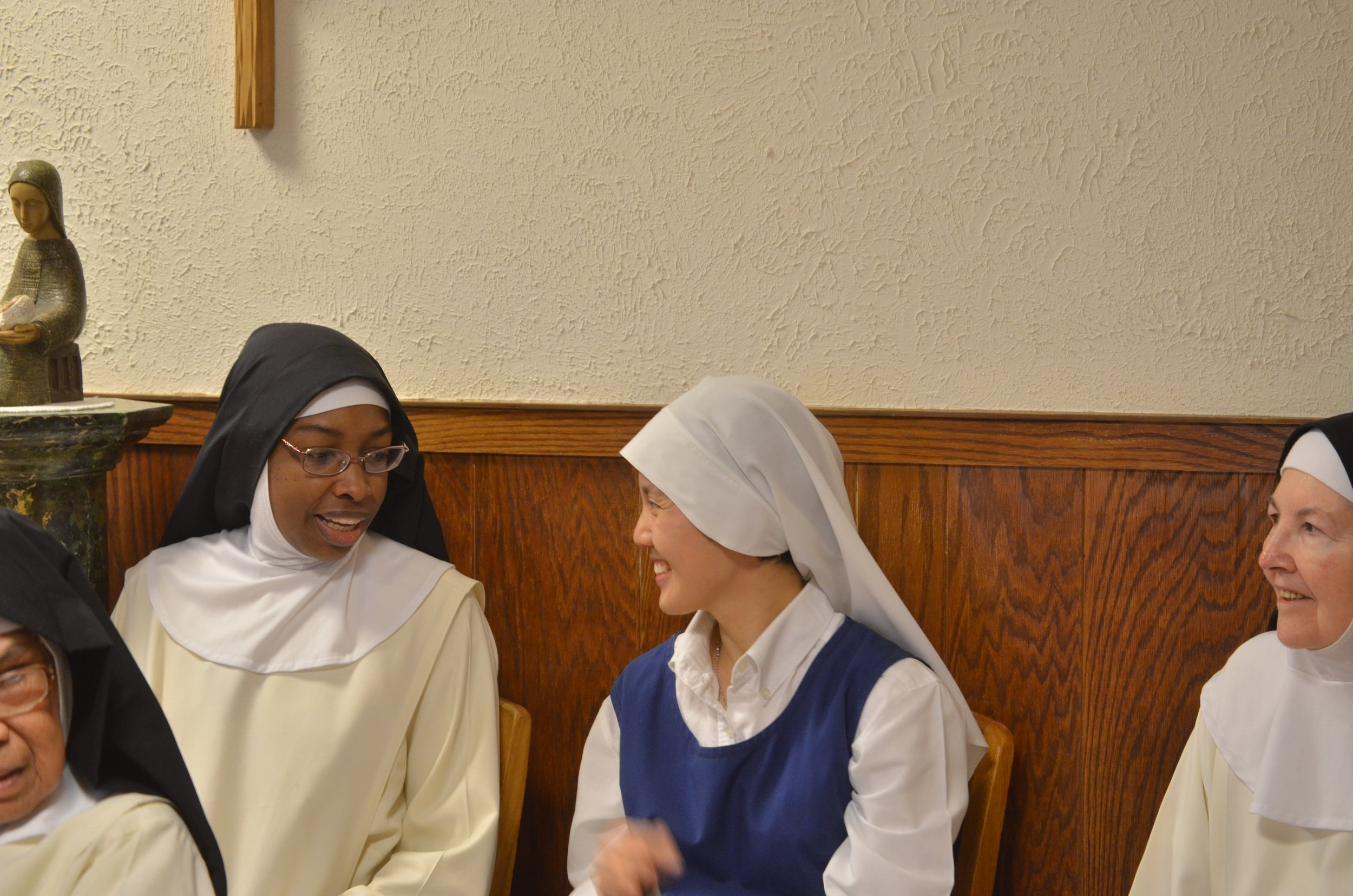 Sr. Mary Jacinta & Sr. Clare enjoy a short conversation waiting for the brothers