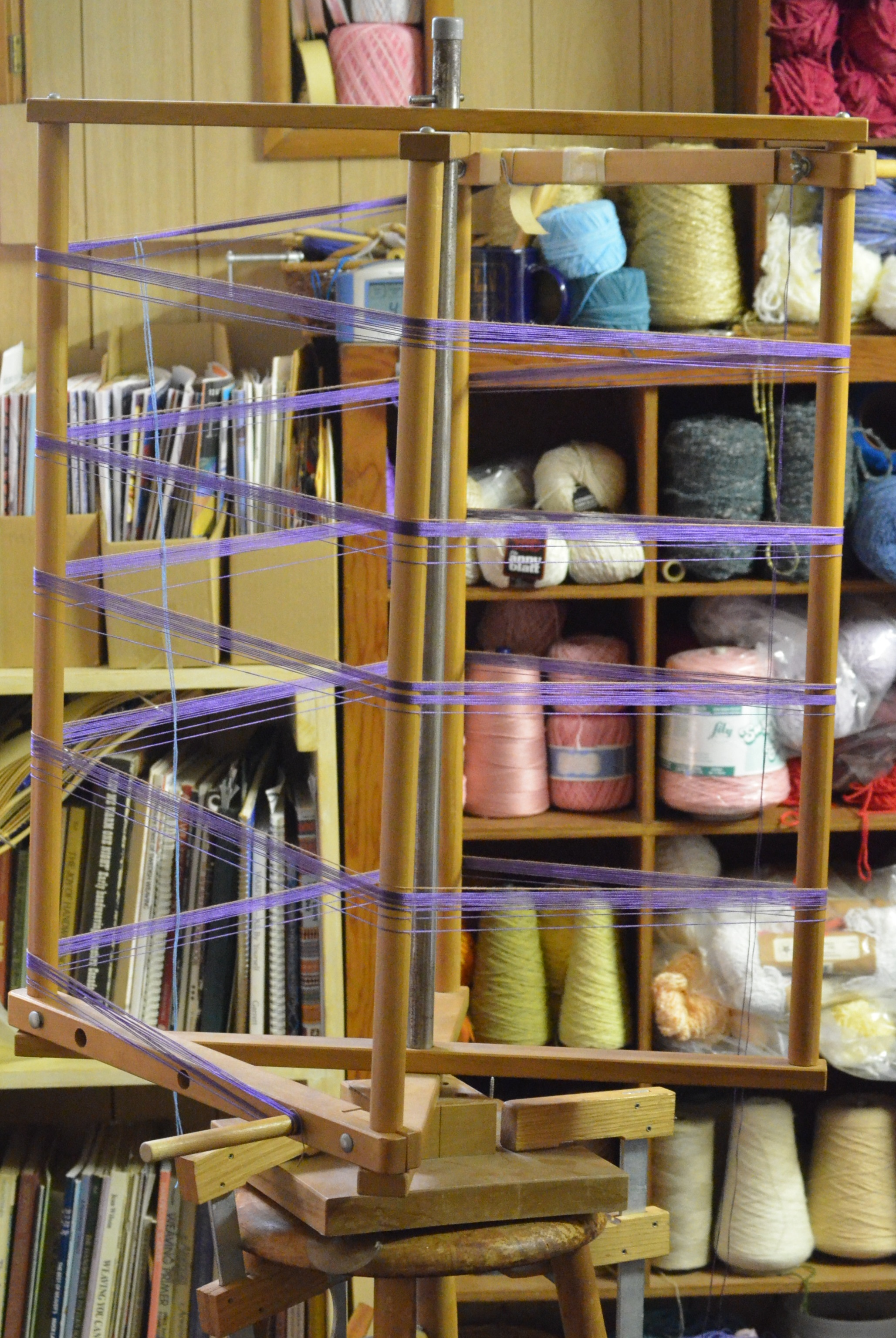3) Next the warp thread (the thread used to dress the loom) must be measured out.