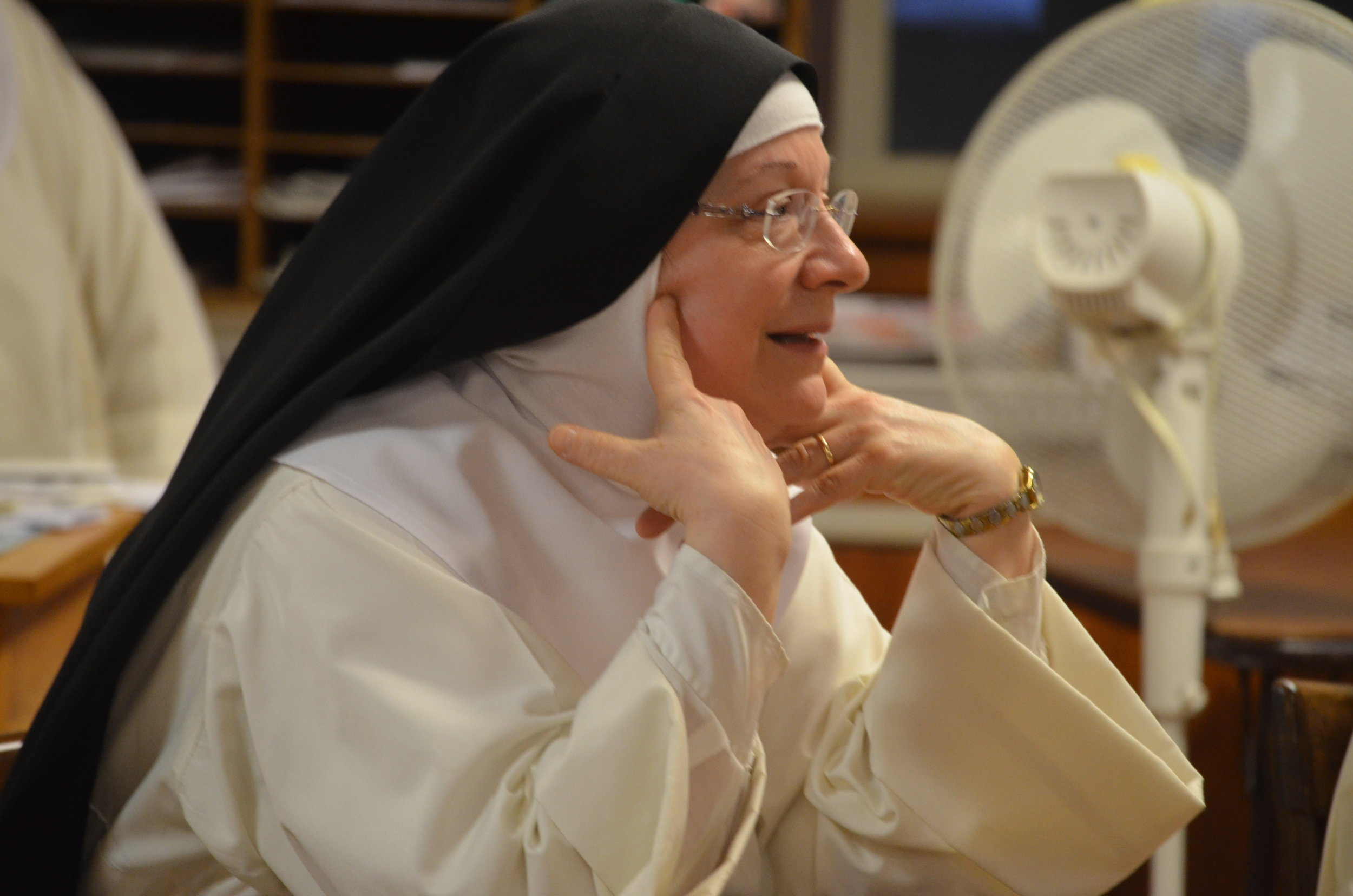 Sr. Charia Marie and Sr. Denise Marie asks questions and clarify points of discussion.