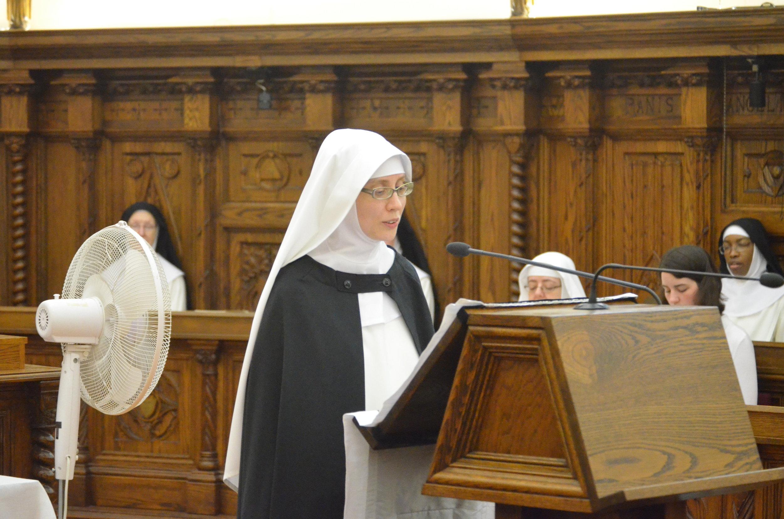 Sr. Maria Johanna reads the first reading