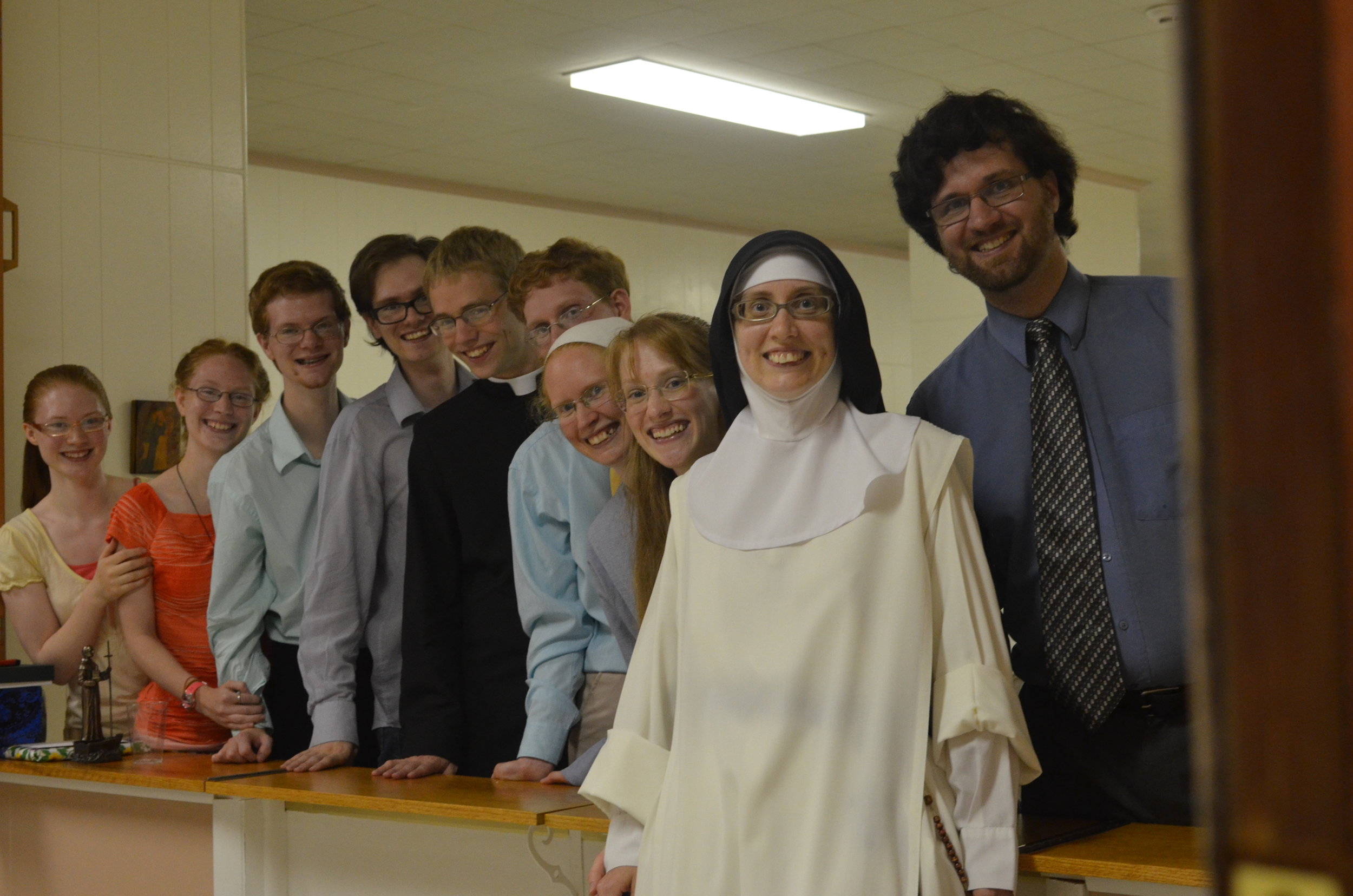 Sr. Maria Johanna with all of her siblings (except for one and with the addition of a friend, Fr. Jeff)