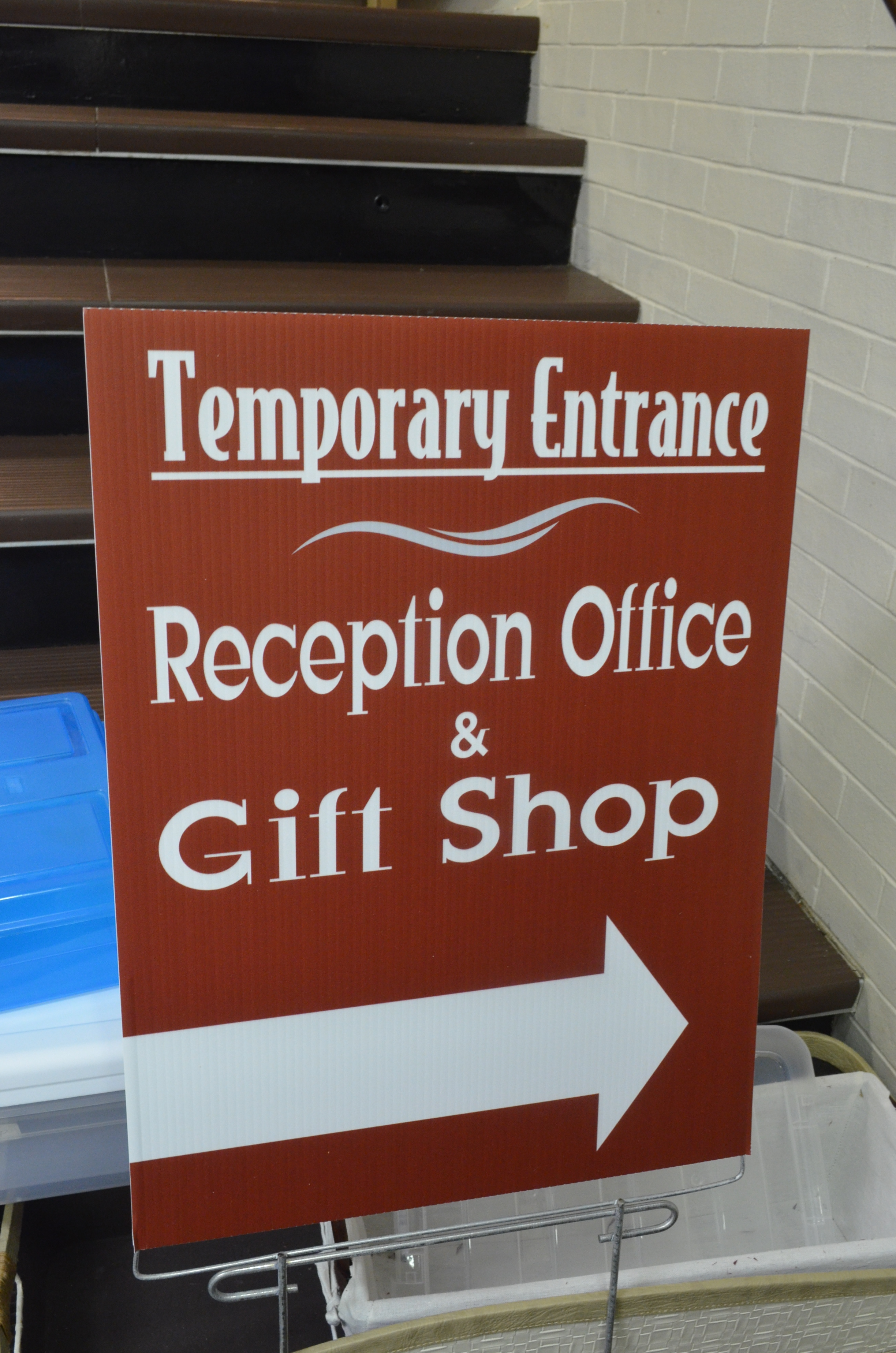 Look for this sign outside to find your way to the new gift shop
