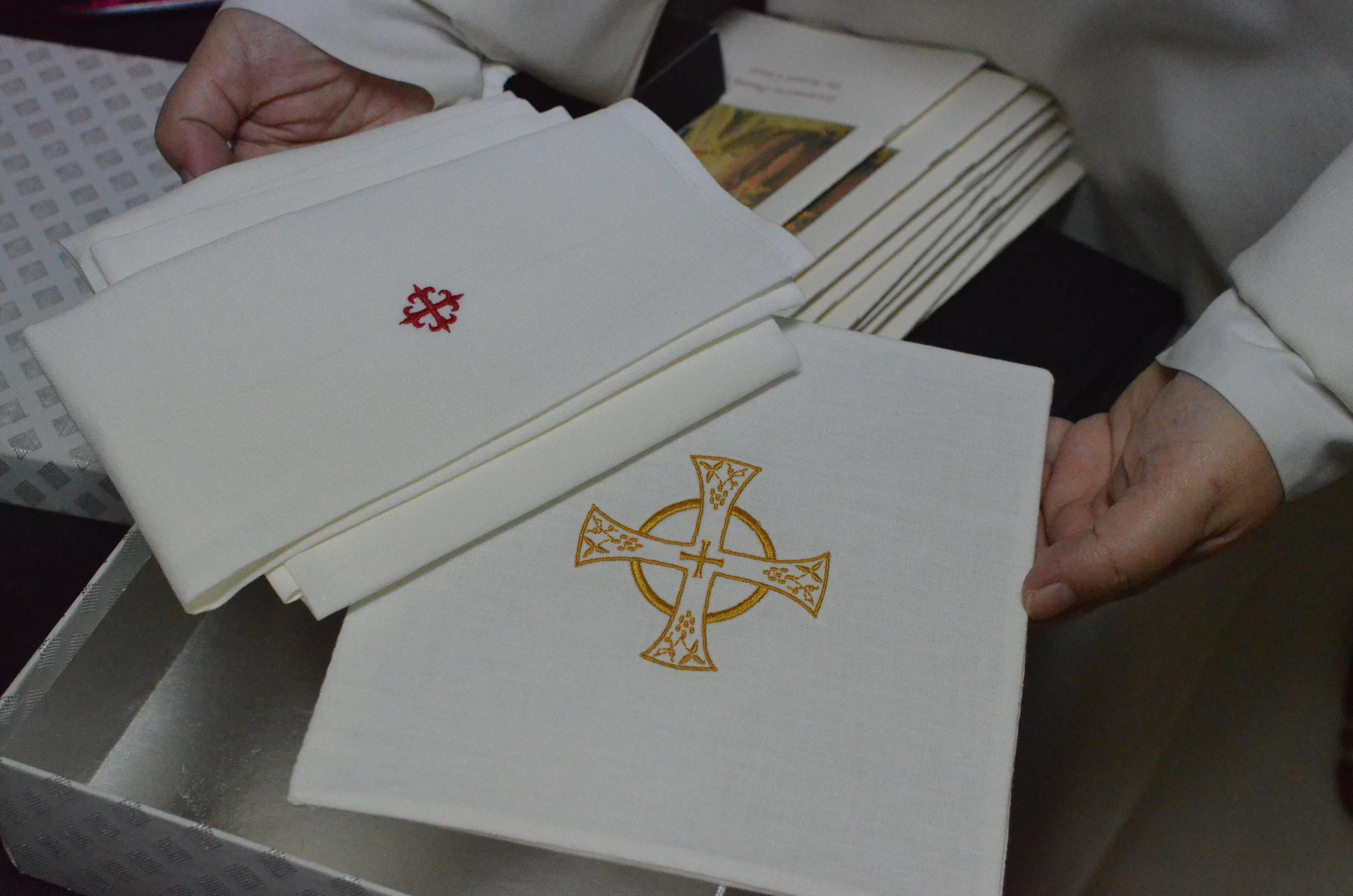Sr. Mary Catharine made an altar linen set as a 'thank you' for Archbishop Hebda