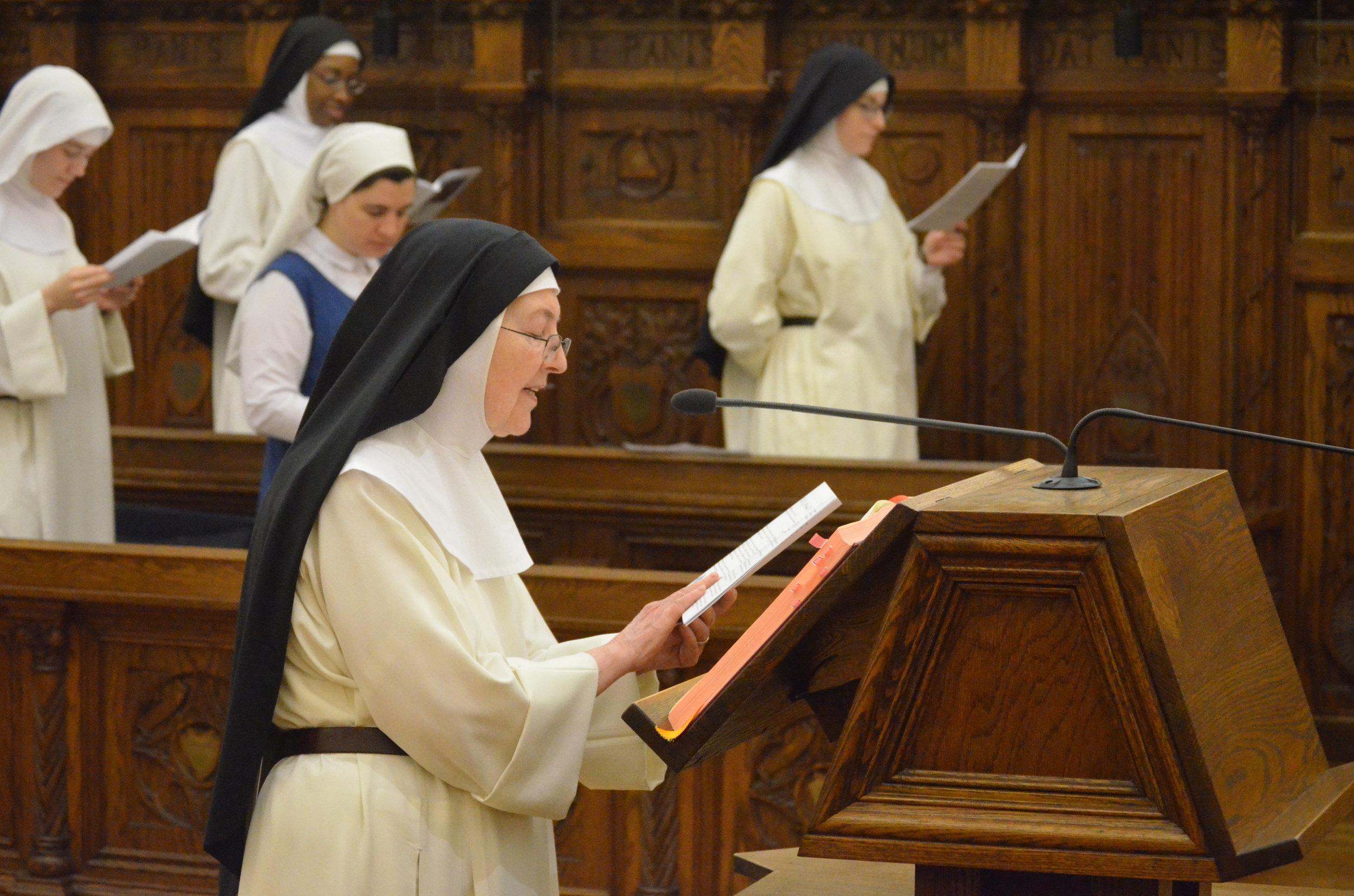 Sr. Mary John reading an intercession