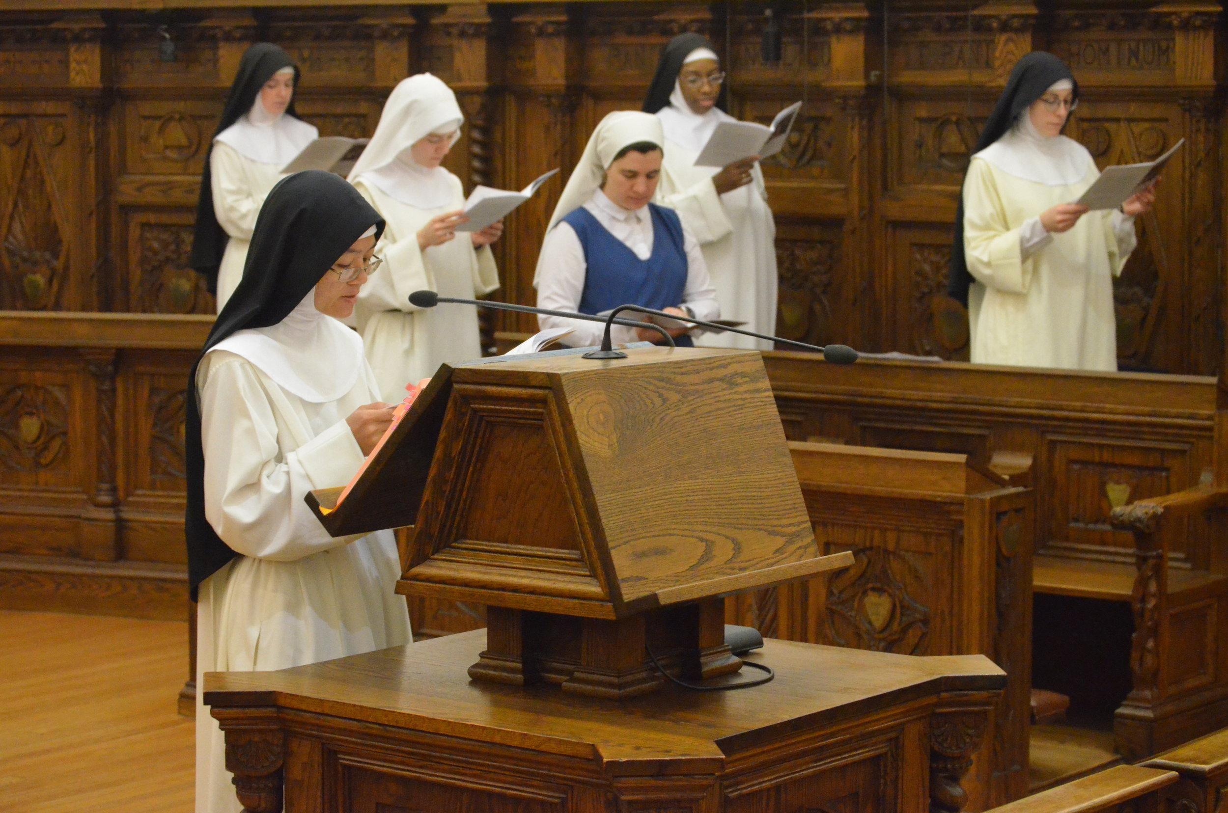 Sr. Joseph Maria reads an intercession