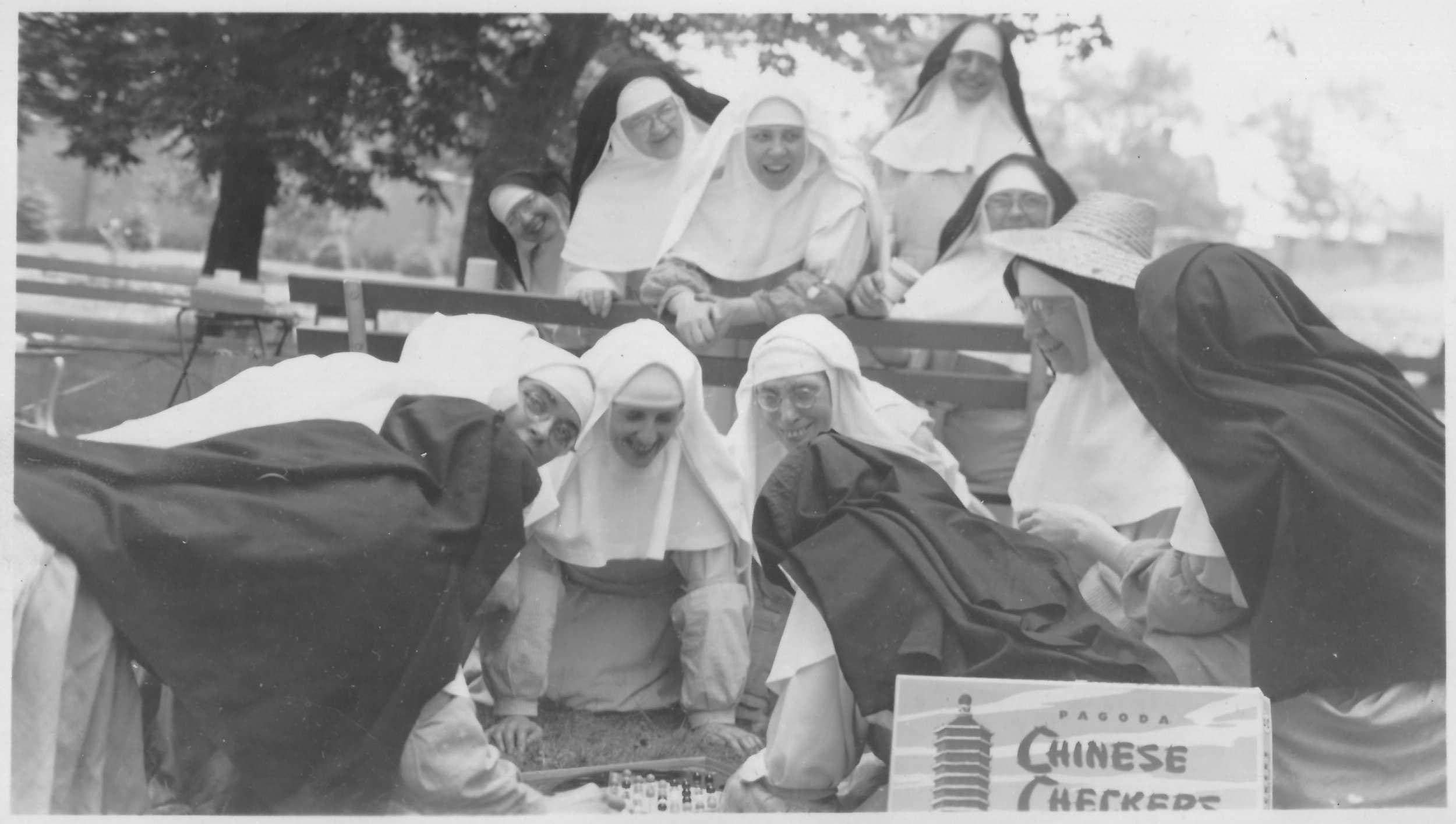 Monastery Picnic. Mother Mary (wearing sun hat) with choir nuns and lay sisters.