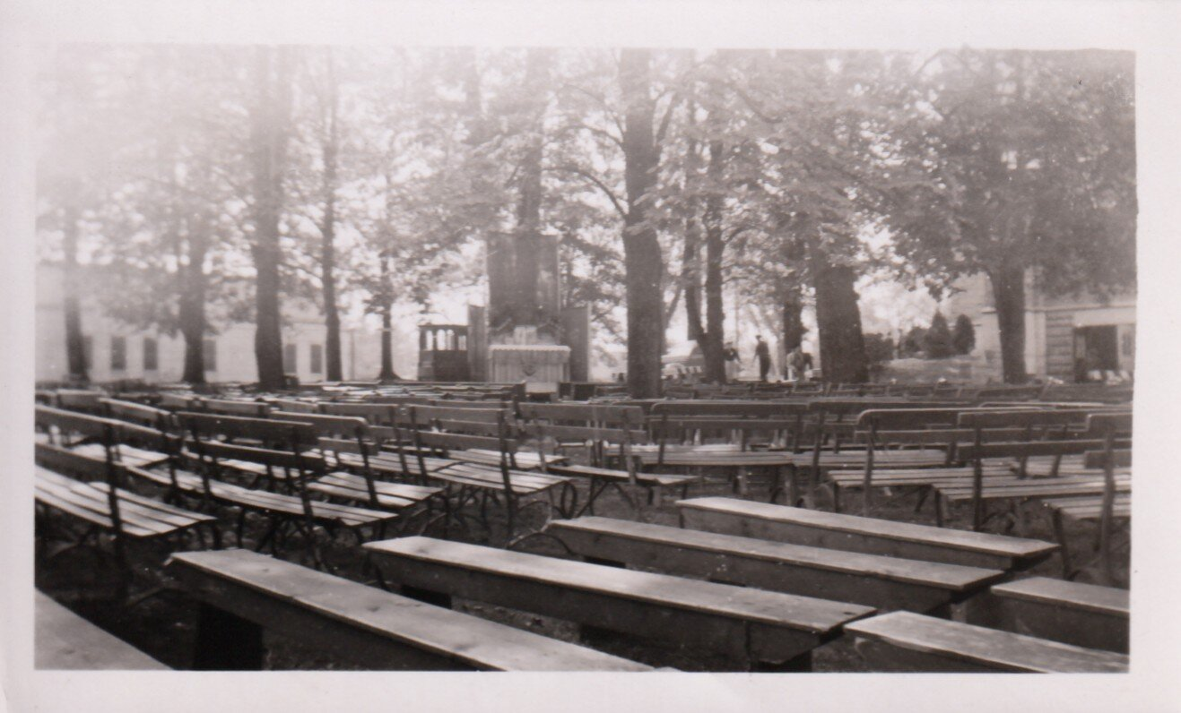 Benches arranged for the pilgrimage
