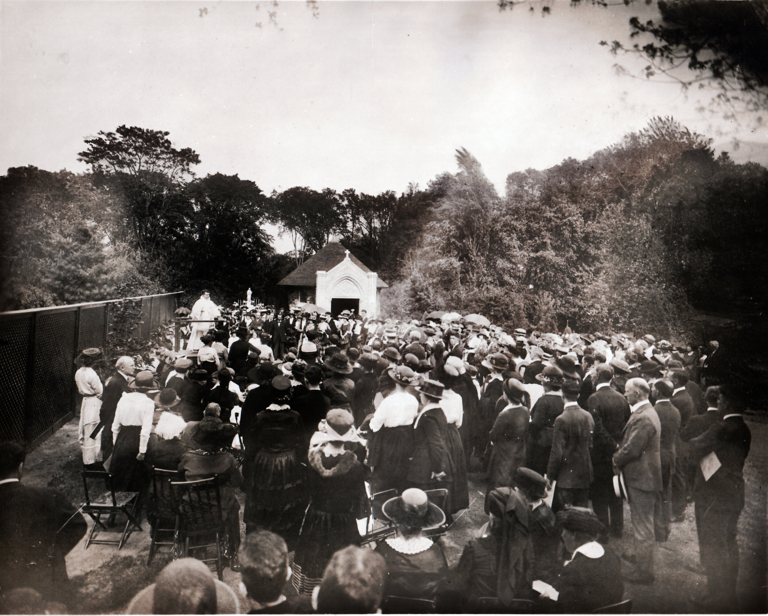 First Public Rosary Pilgrimage held May 22, 1921. The new grotto can be seen in the background.