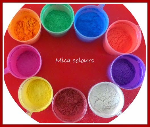 Copy of Some of the mica colours we use for soap making
