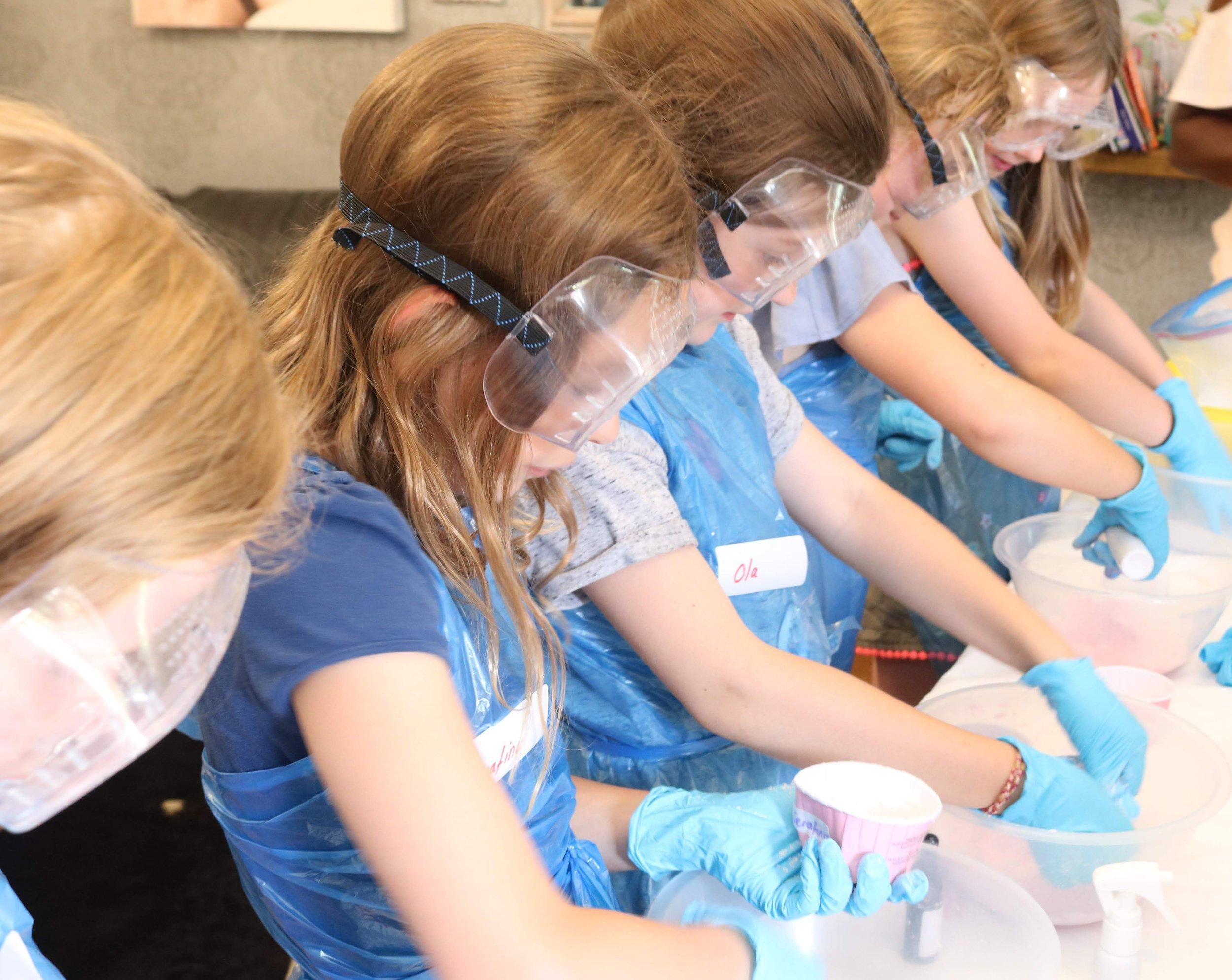 Girls making bath bombs