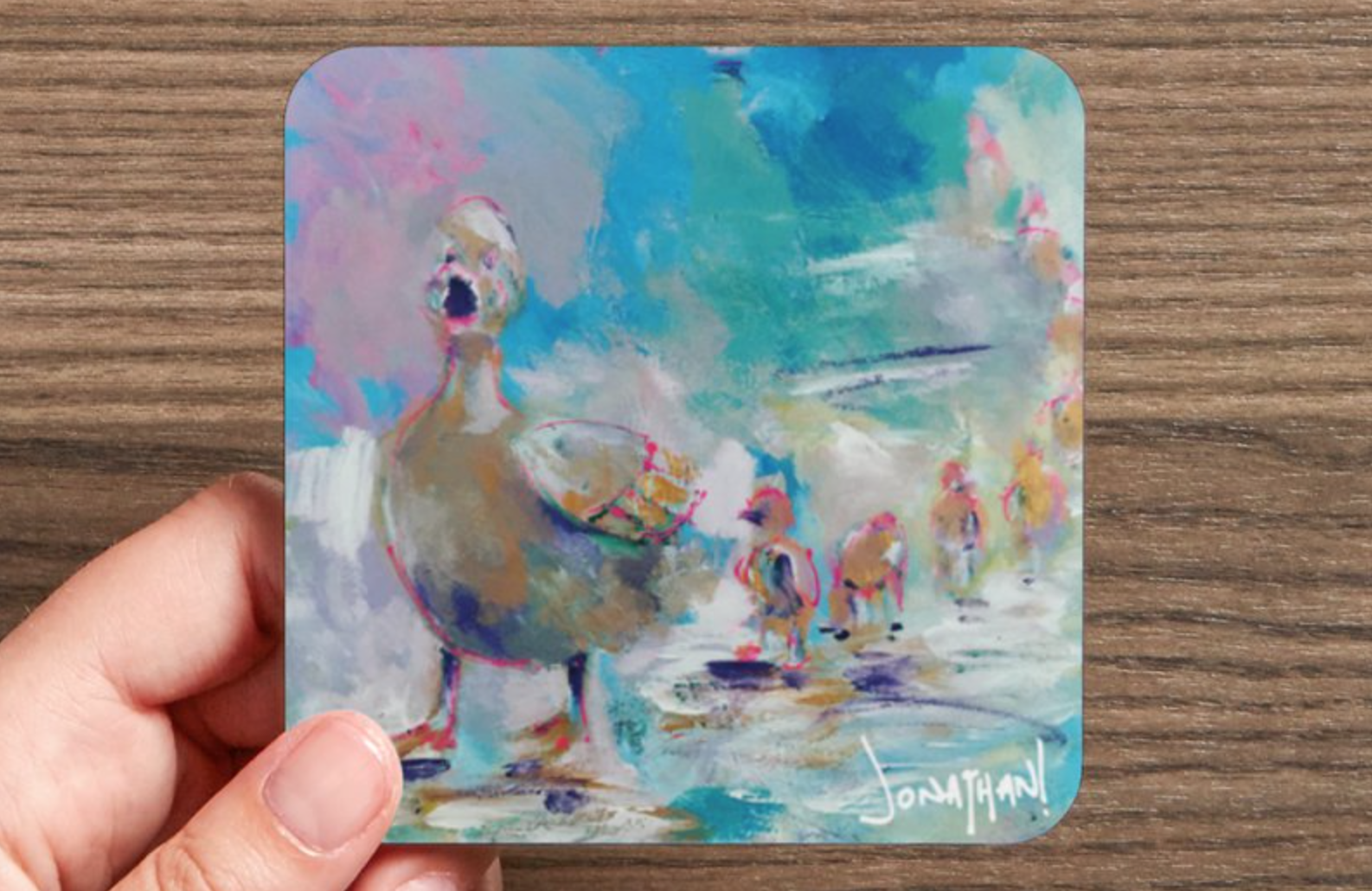 Coasters - These high gloss, corked backed coasters are colorful reproductions of my original artwork. Each coaster makes a unique addition to any room, and a great gift.For each coaster sold, I donate one to the 'Painter Without Borders' Program at Massachusetts General Hospital Cancer Center and Boston Medical Center Cancer Center. Thanks to your support we've given away over 750 coasters!Approximately 4