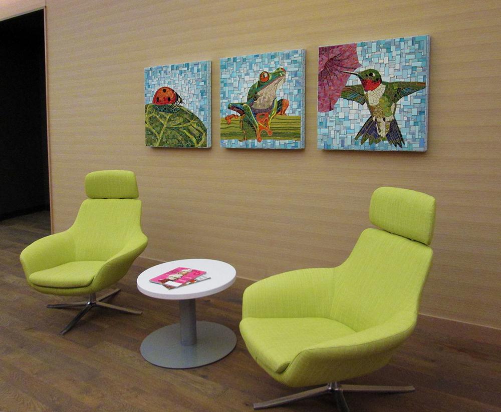 Ladybug, Tree Frog and Hummingbird mosaic triptych