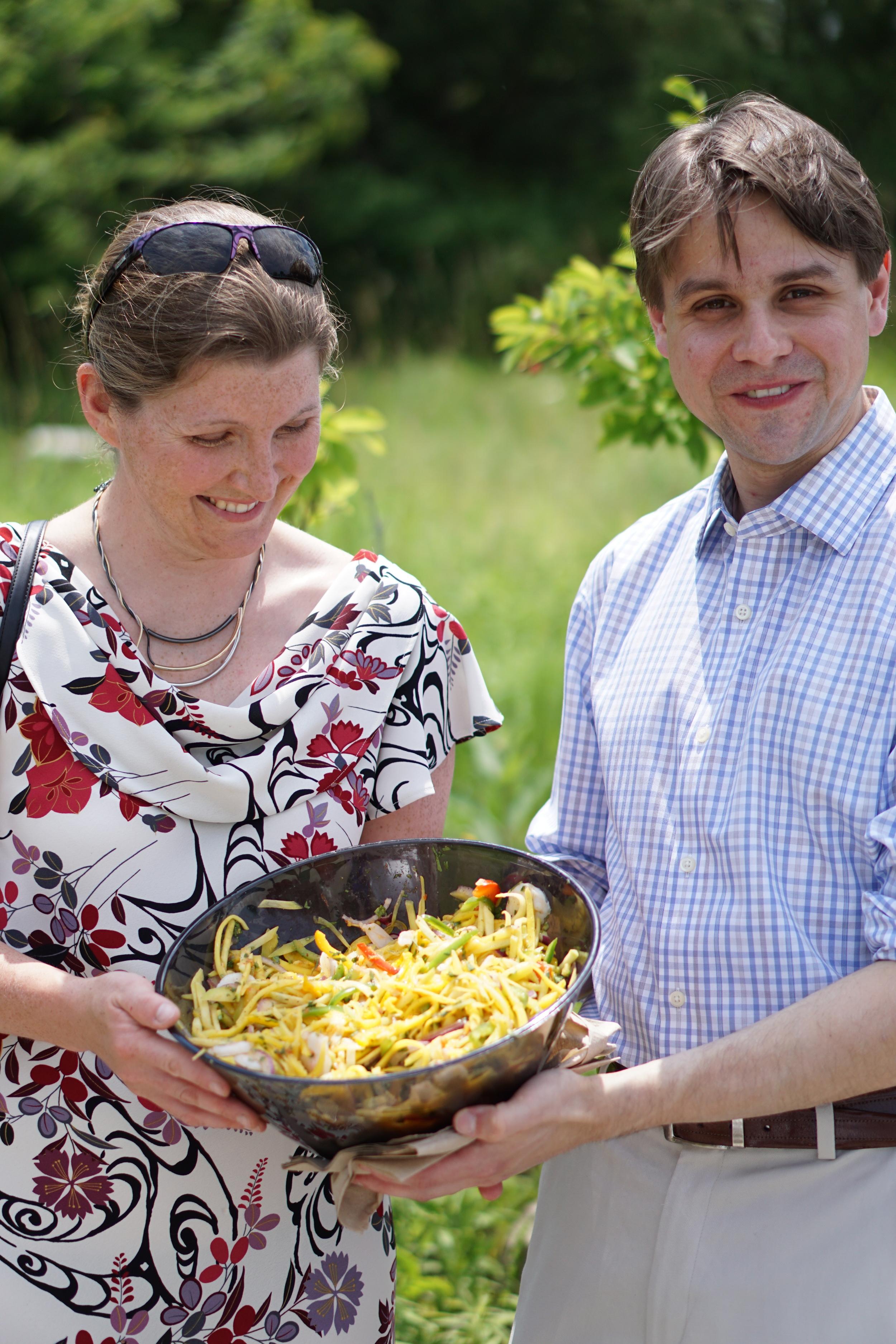 People Enjoying Mango Salad.JPG