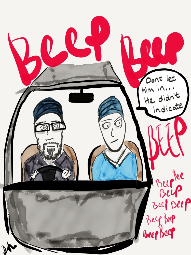 """""""Don't let him in, he didn't indicate"""" - Me and my wife Jas car share our work journeys driving to and from #Leeds every weekday. She's a stickler for the rules and not a fan of people trying to cut in without indicating or signalling as they say in the States.#2pluslane #art #artist #car #cars #comic #draw #drawing #drive #driver#funnycomic #illustration #iPadArt #JDShorts #Kaur #LookaSingh#marriedlife #paper53 #picture #procreate #ride #Singh #sketch #traffic#webcomic #workjourneys #SikhWeding #Roadrage #Commute"""