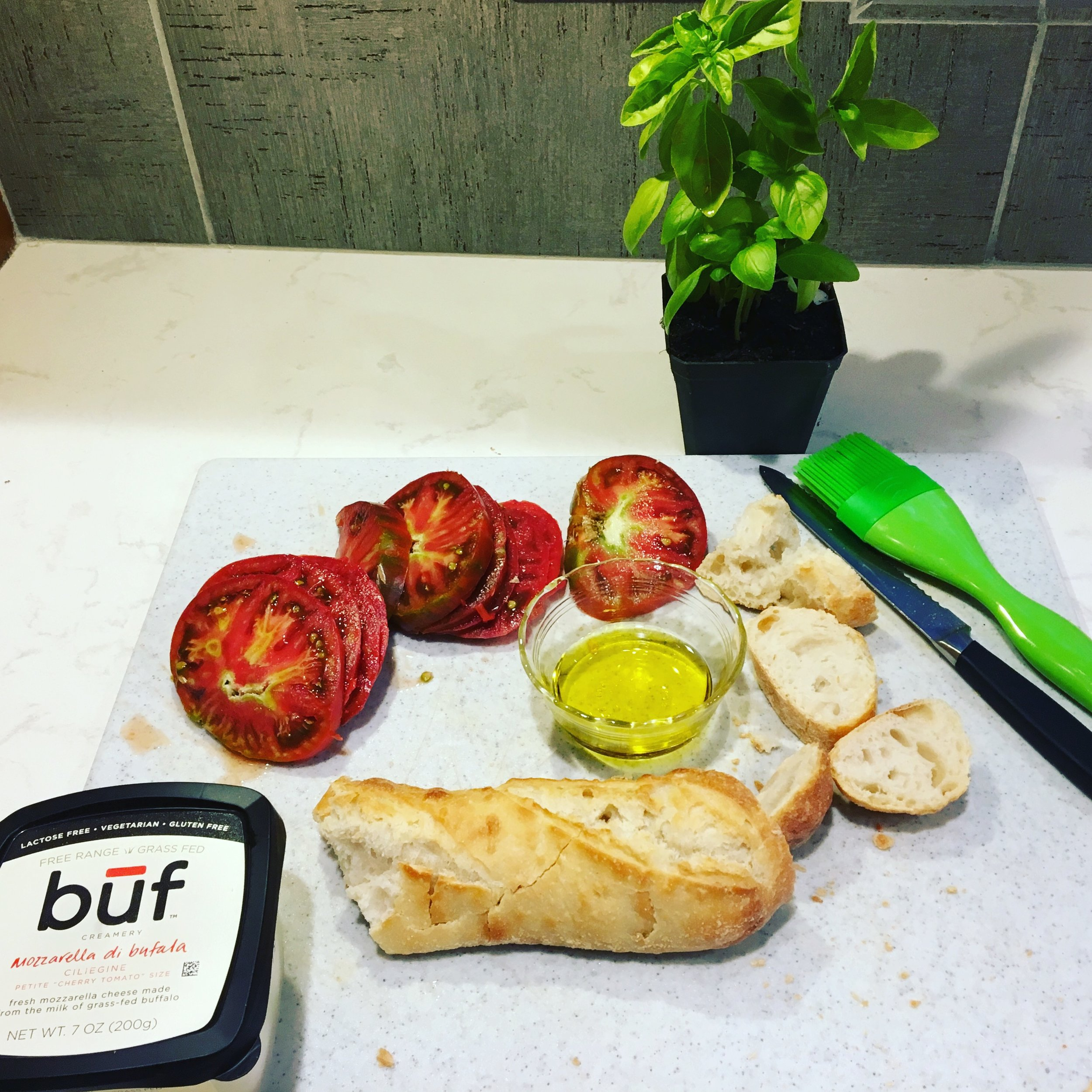 Everything here is organic.The tomatoes are local from Upper Pond Farm. I tried buf for the first time and I will now only use buf. It's the perfect accompaniment to tomatoes and basil picked fresh from the garden. - -Dawn xox