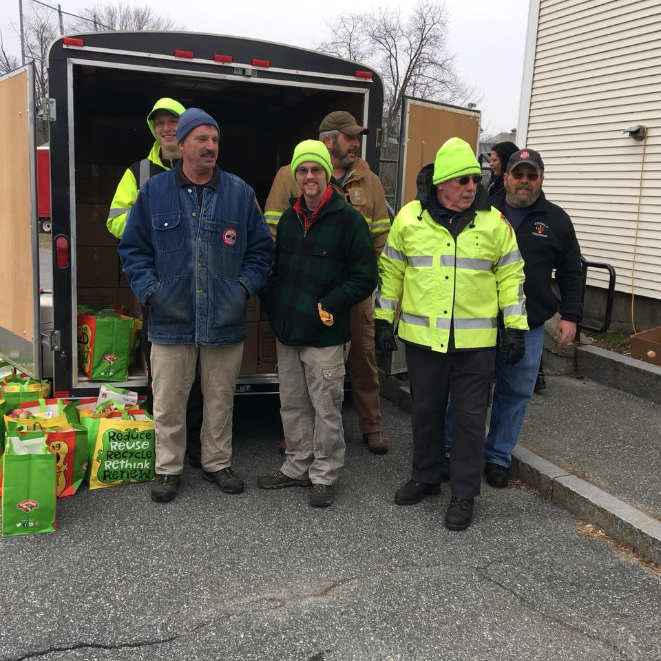 Pictured are Phil Neily, Canaan, Alton Hennessey, Canaan, Ed Carroll, Dorchester, Drew Burse, Canaan, Steve Kudlik, Grafton and John Nugent, Enfield----great community representation.  FOM helped fill 150 food boxes available to families with children. Event took place December 9.