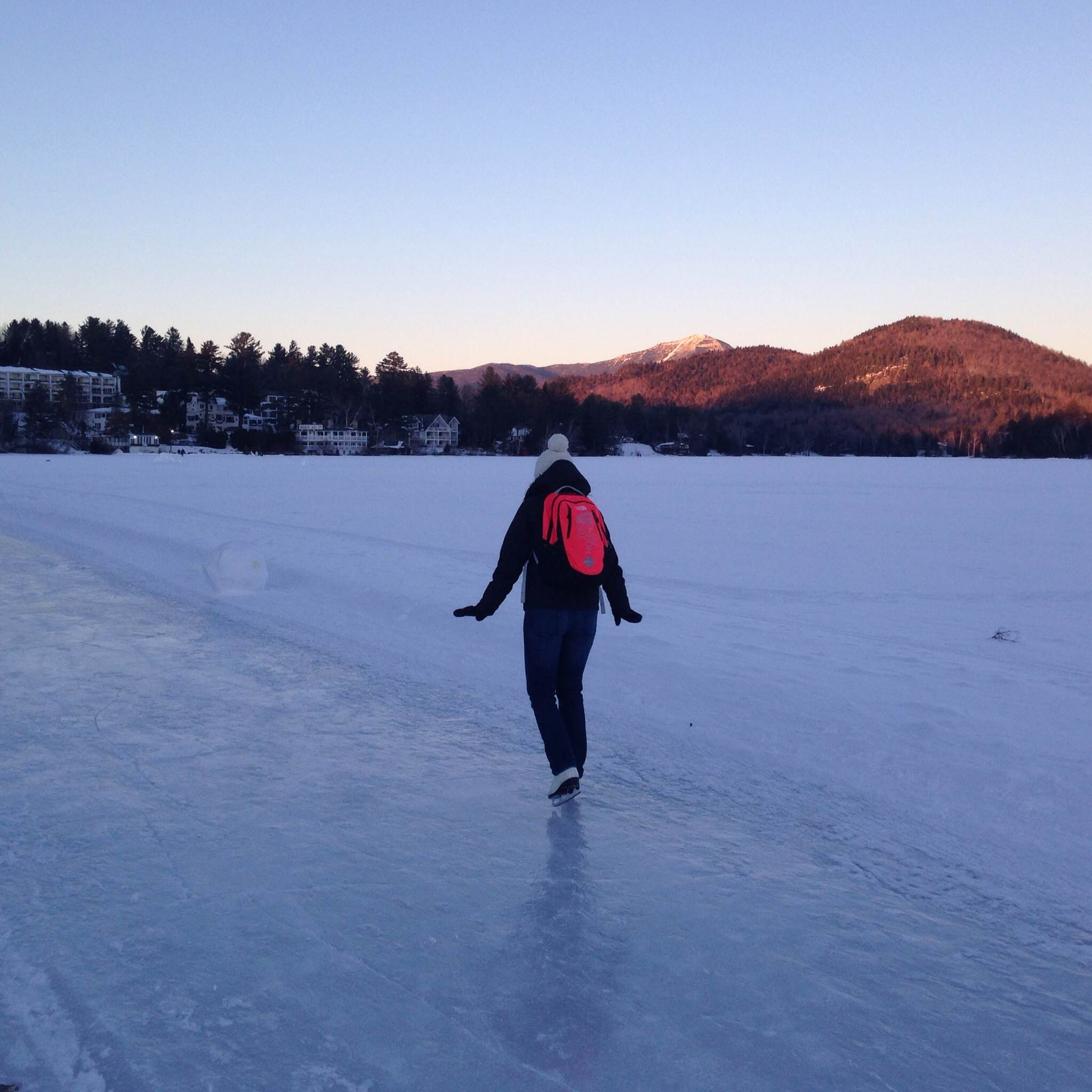 Skating on theloop that was cleared to skate on Mirror Lake. I don't believe there is anything in my backpack....I just wanted to wear it.
