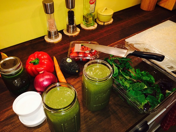 Last Juice of the day on the left,our Green Smoothies for tomorrow and the ingredients for our salad.