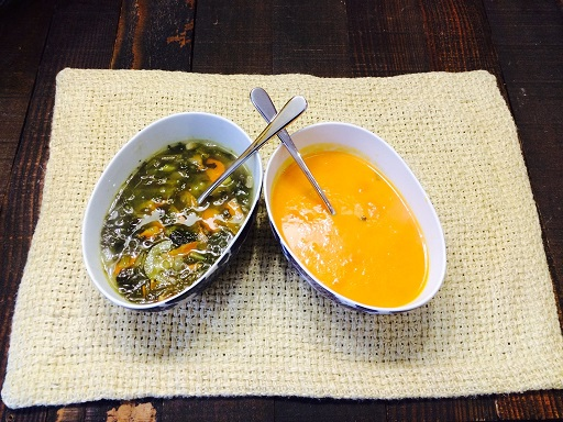 The two soup options, Veggie (carrots, green beans, kale, celery, garlic) and Carrot Ginger. I prefer the one on the right!!