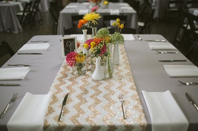 Centerpieces and Chevron Runner