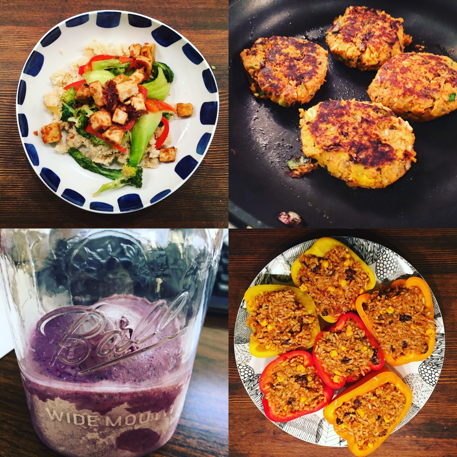 From left to right clock wise from the top : Crispy Peanut Tofu Cauliflower Rice Stir Fry , Sweet Potato Black Bean Burger  , Spanish Quinoa Stuffed Peppers  & Deep Blue Sea Smoothie