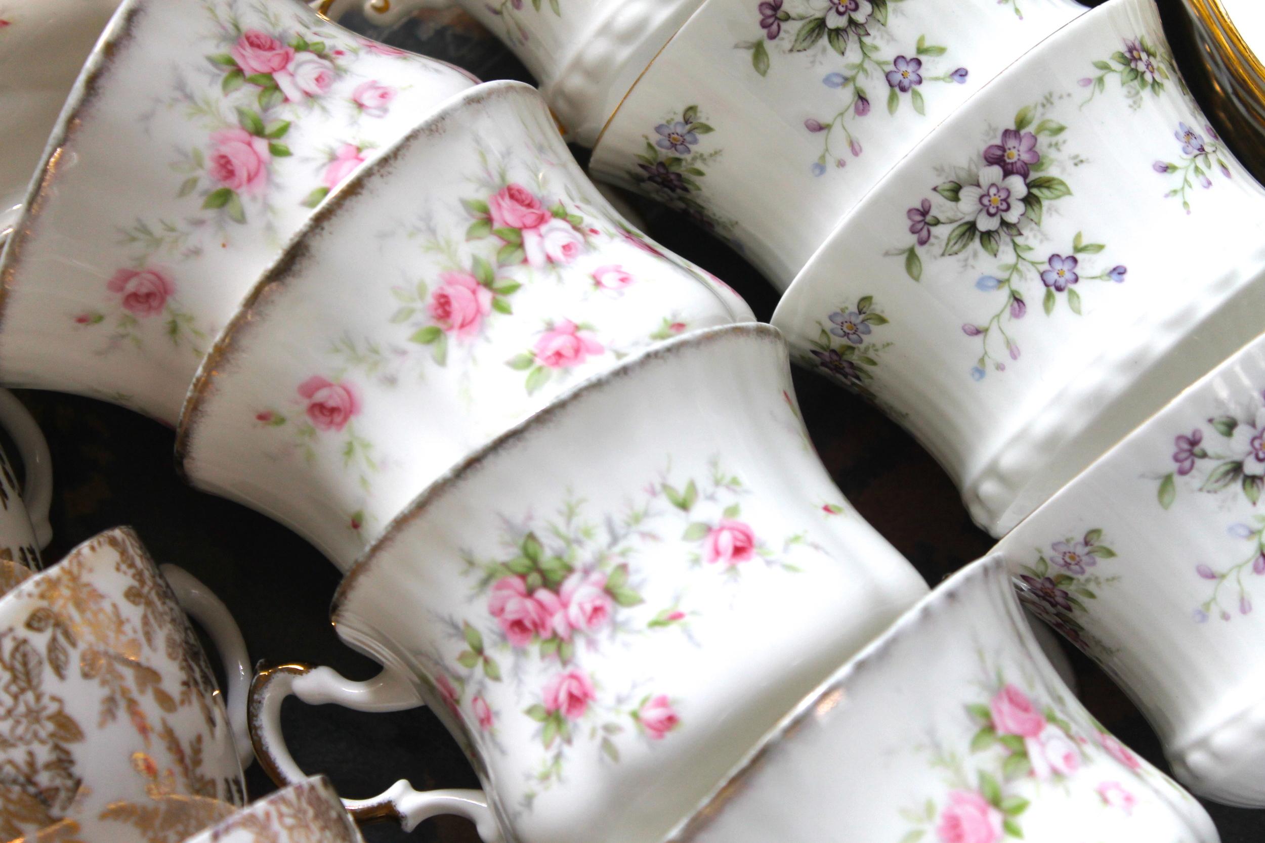 Pearls & Peonies tea cups