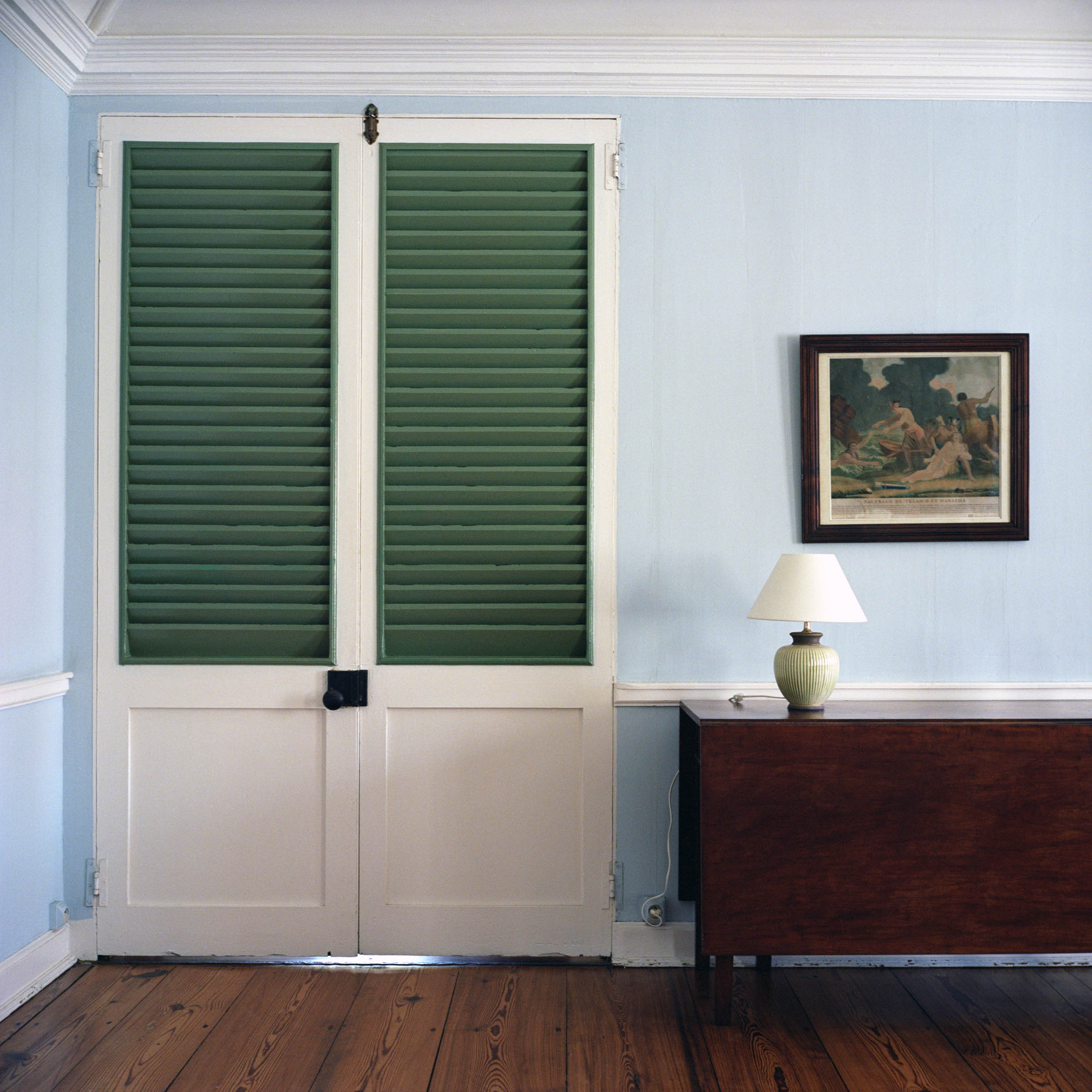 Green Shuttered Door