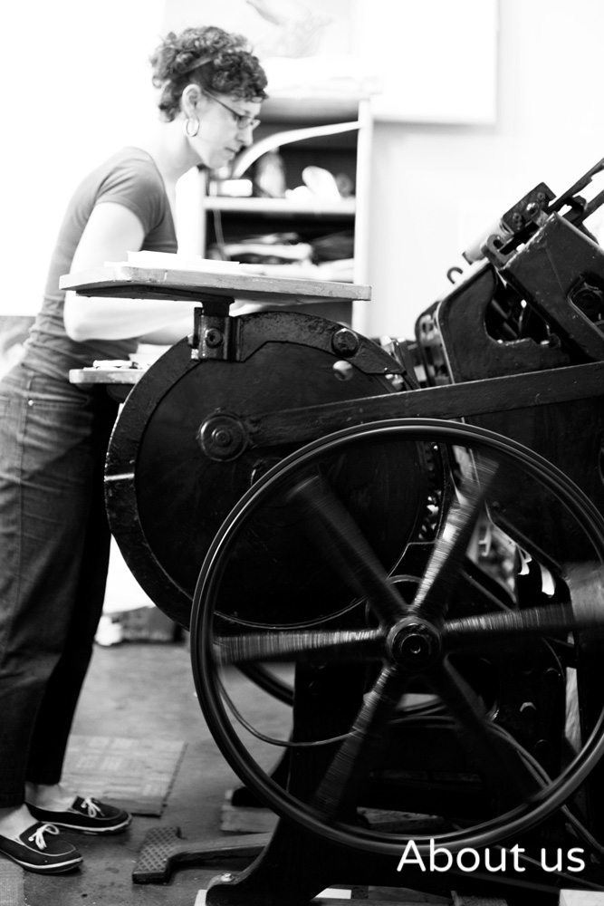 Rebecca printing at the Oakland studio in 2010.