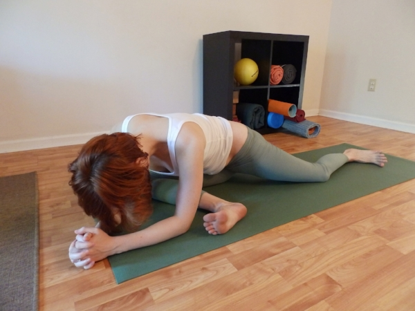 PIGEON Forward Bend Variation (Knee Safe) - Sit down on the front leg hip, foot flexed. Back leg is bent and can be splayed out. Fold across front shin.
