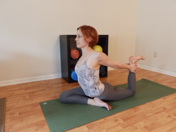 PIGEON Backbend with Both Hands Grabbing Ankle - Back knee bent. Grab ankle with both hands, arms straight.