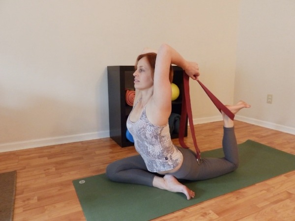 PIGEON Backbend with a Strap - Back knee bent. Strap around back ankle. Hold strap with both hands, elbows bent.
