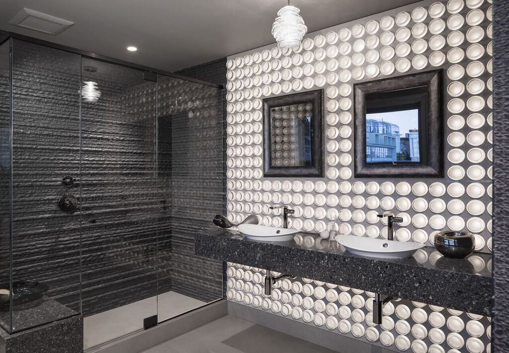 """The """"Thousand Watt Bathroom"""" designed by Adele Salierno of  Geddes Ulinskas Architects  for SF Decorator Showcase 2017. Lighting design by Al Zaparolli of  Techlinea  and custom LED panel designed and manufactured by Mike Hollibaugh of Holly Solar Products, LLC."""