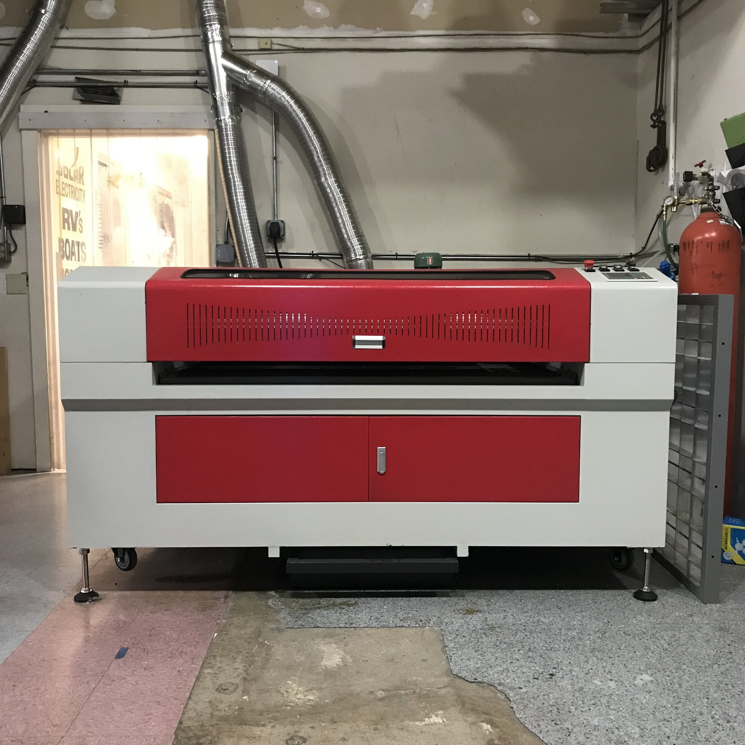 Here's our 380 watt CO2 laser, with a 40 x 30 inch bed; this powerful laser capable of cutting .125 inch stainless and carbon steel in addition to 1 inch acrylic. We can take your Illustrator file (.ai) or .dxf file and turn your virtual file into something tangible.