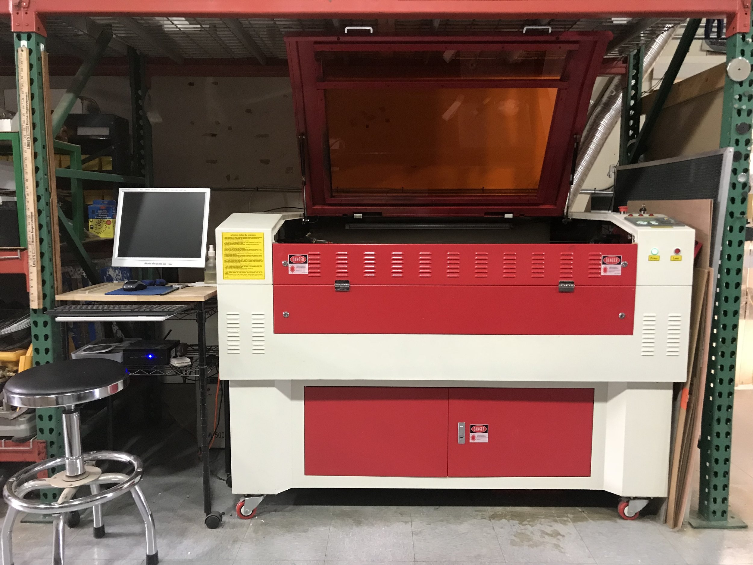 Here's our trusty 180 watt CO2 laser, with a 40 x 30 inch cutting area, we use this laser to cut the majority of our acrylic housings. Capable of cutting up to .75 inch acrylic, this reliable machine was our first laser and has preformed flawlessly.
