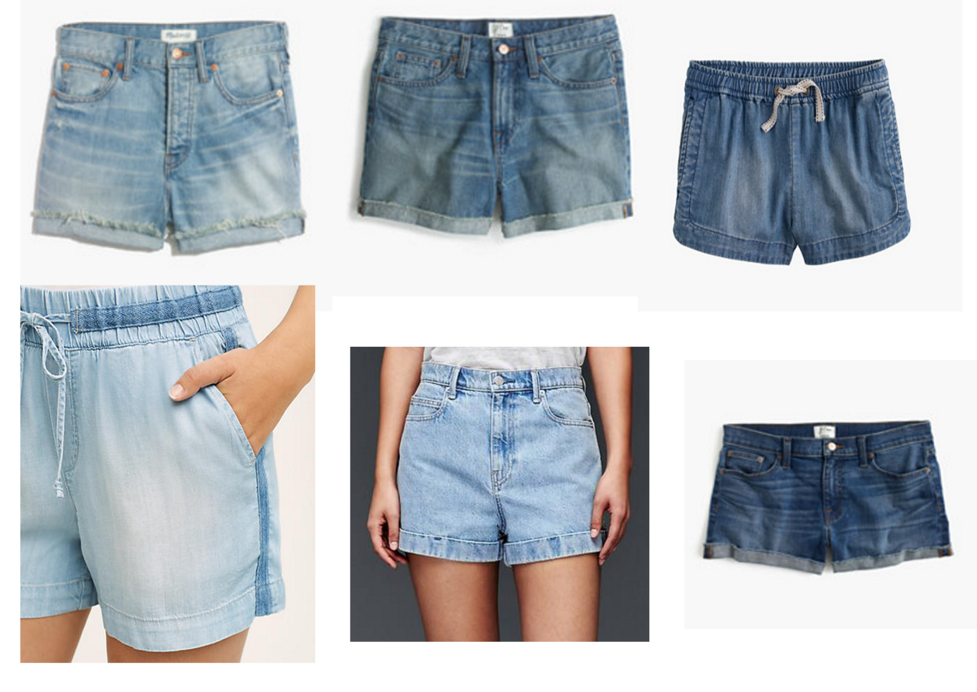 From left to right:  Madewell  //  J. Crew //  J. Crew //  Anthropologie //  Gap  //  J. Crew