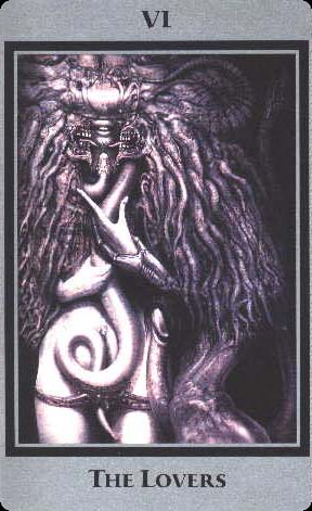 The Lovers from the Baphomet Tarot by H. R. Gigerhttp://www.giger-art.com/giger-tarot.html