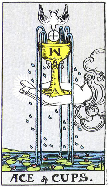 Ace of Cups from the Rider-Waite Tarot deck