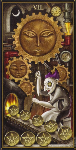 The 8 of Pentacles from the Deviant Moon Tarot deck