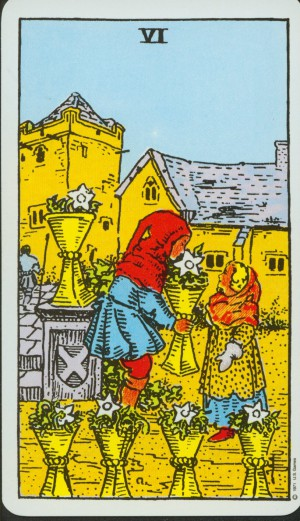 6 of Cups from the Rider-Waite deck