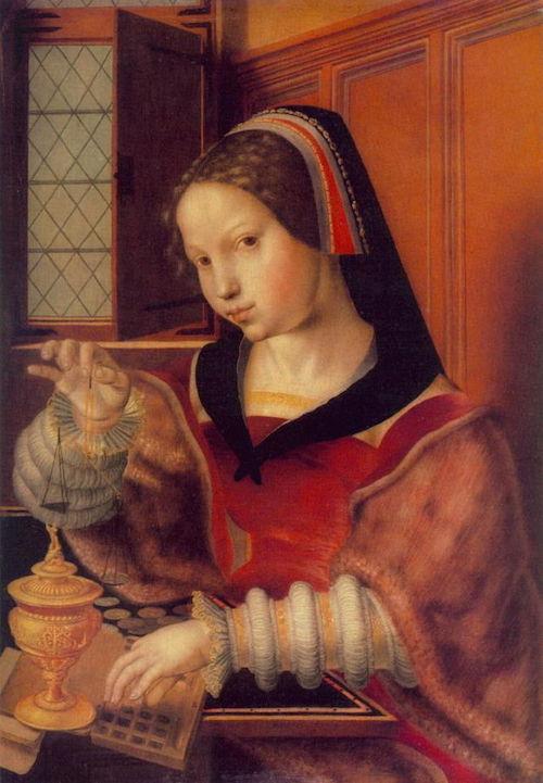 "By Jan Sanders van Hemessen (1500-1579)""Woman Weighing Gold"" - Public Domain,https://commons.wikimedia.org"