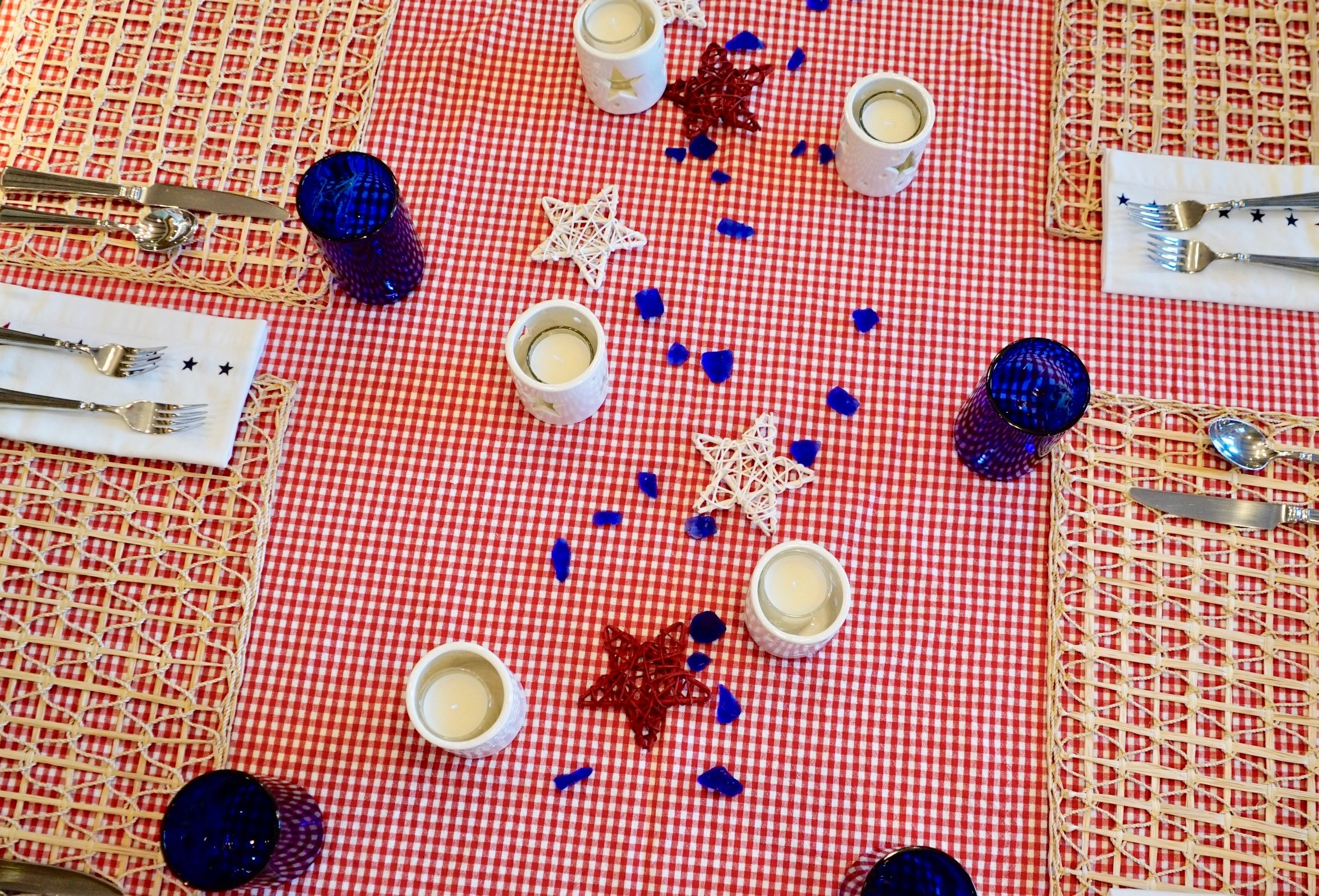 A Festive Table - Red, White & Blue with seaside accents