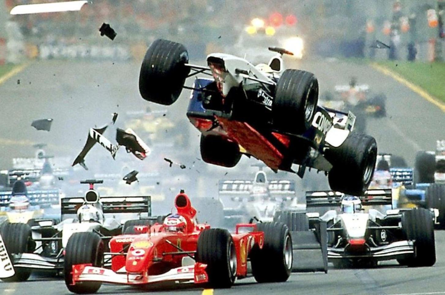 Ralph Schumacher air borne corner 1, lap 1. Melbourne F1 - 2002.