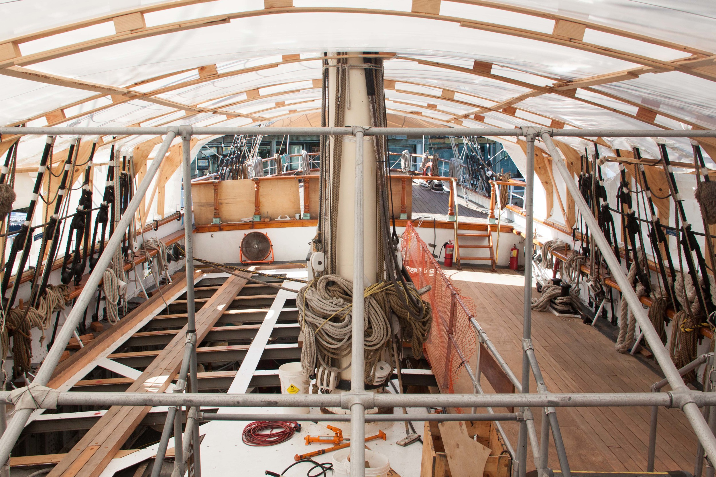 The deck needed to be sectioned off so visitors to the museum could visit at any time.