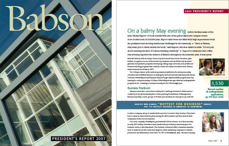 Corporate Annual Report Portfolio: President's Report: Babson College.