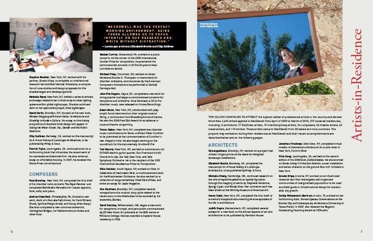Corporate Annual Report Portfolio: MacDowell Colony