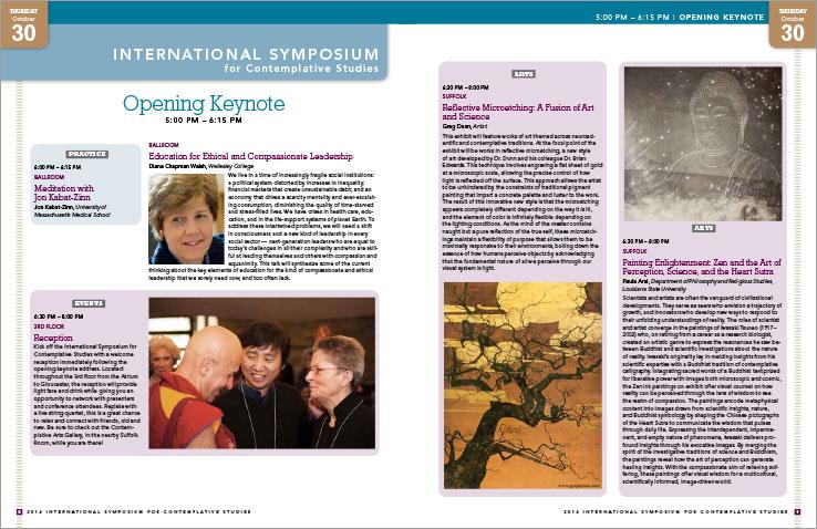 Program & Catalog Design: International Symposium for Contemplative Studies Program : Mind & Life Institute
