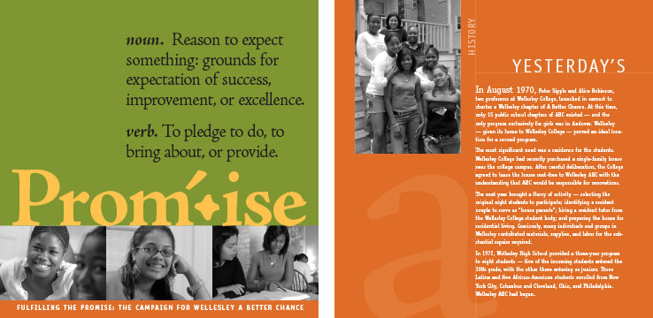 Marketing Collateral Design Portfolio: Fundraising Brochure: Wellesley ABC