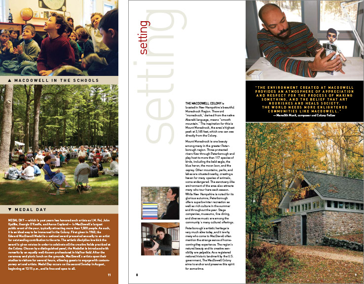 Marketing Collateral Design Portfolio: Institutional Brochure: MacDowell Colony